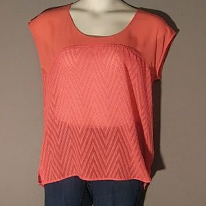 NWT Maurices sheer coral blouse size M